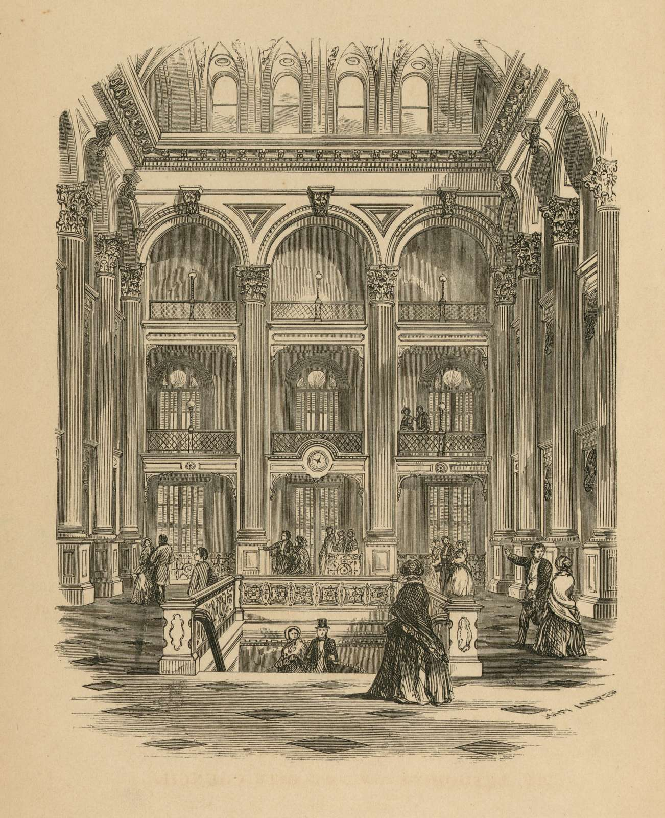 [Interior view of the main floor of the Boston Public Library] / John Andrew.
