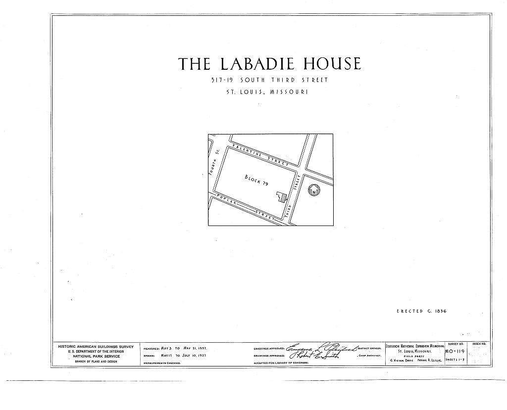 Labadie House, 517-19 South Third Street, Saint Louis, Independent City, MO