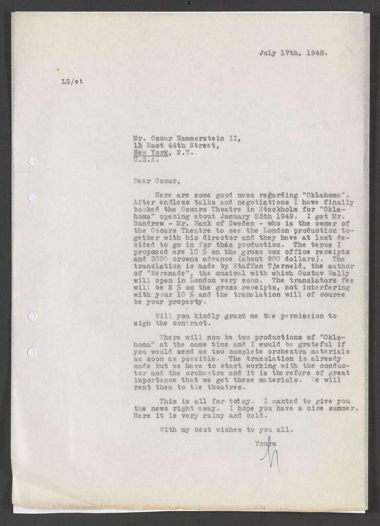 Lars Schmidt to Oscar Hammerstein II, 17 July 1948