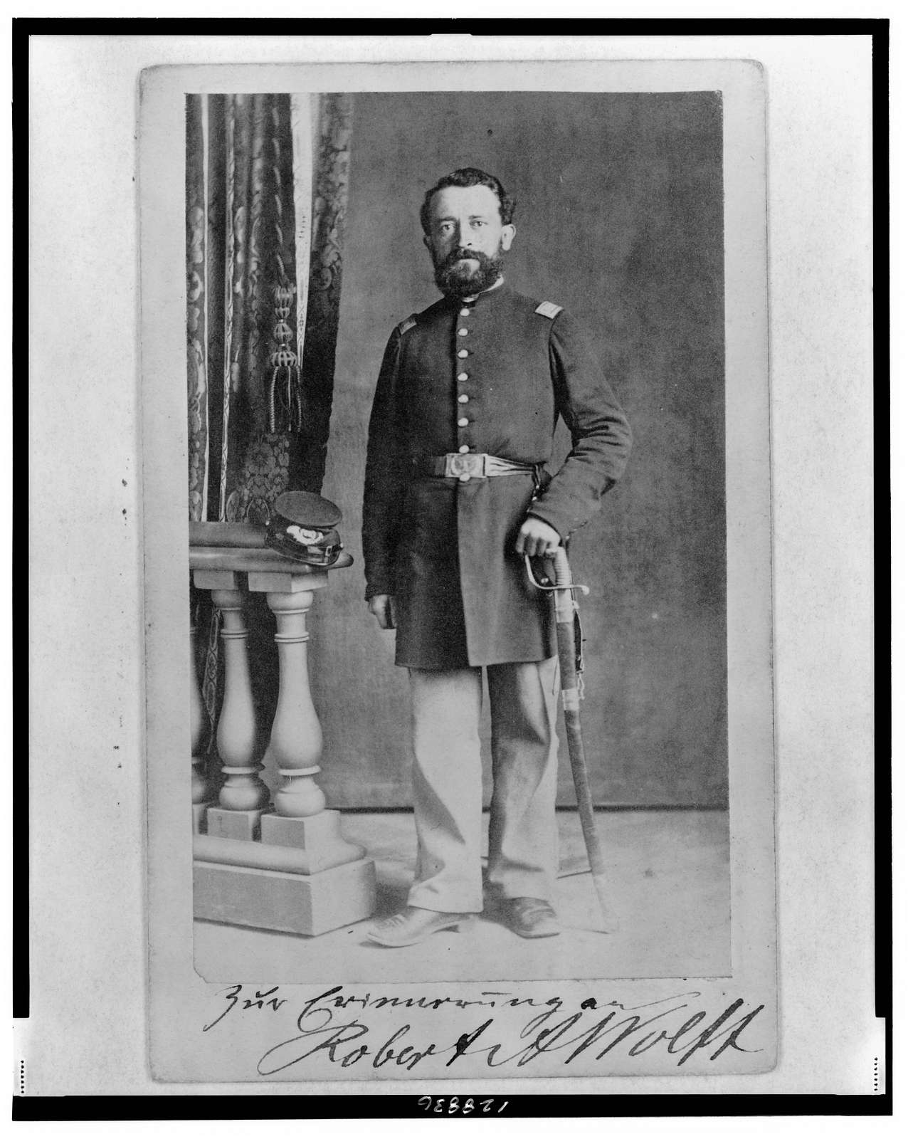 [Lieutenant Robert A. Wolff, Union officer in the 32nd Indiana Regiment, full-length portrait, facing front] / T.M. Schleier's Cartes de Visite Photograph Gallery, Nashville, Tenn.