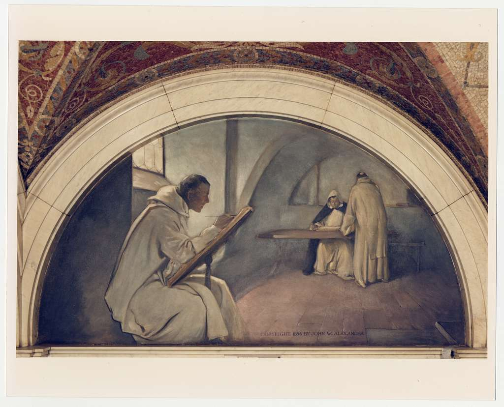 [Manuscript Book mural in Evolution of the Book series, John W. Alexander. Library of Congress Thomas Jefferson Building, Washington, D.C.]