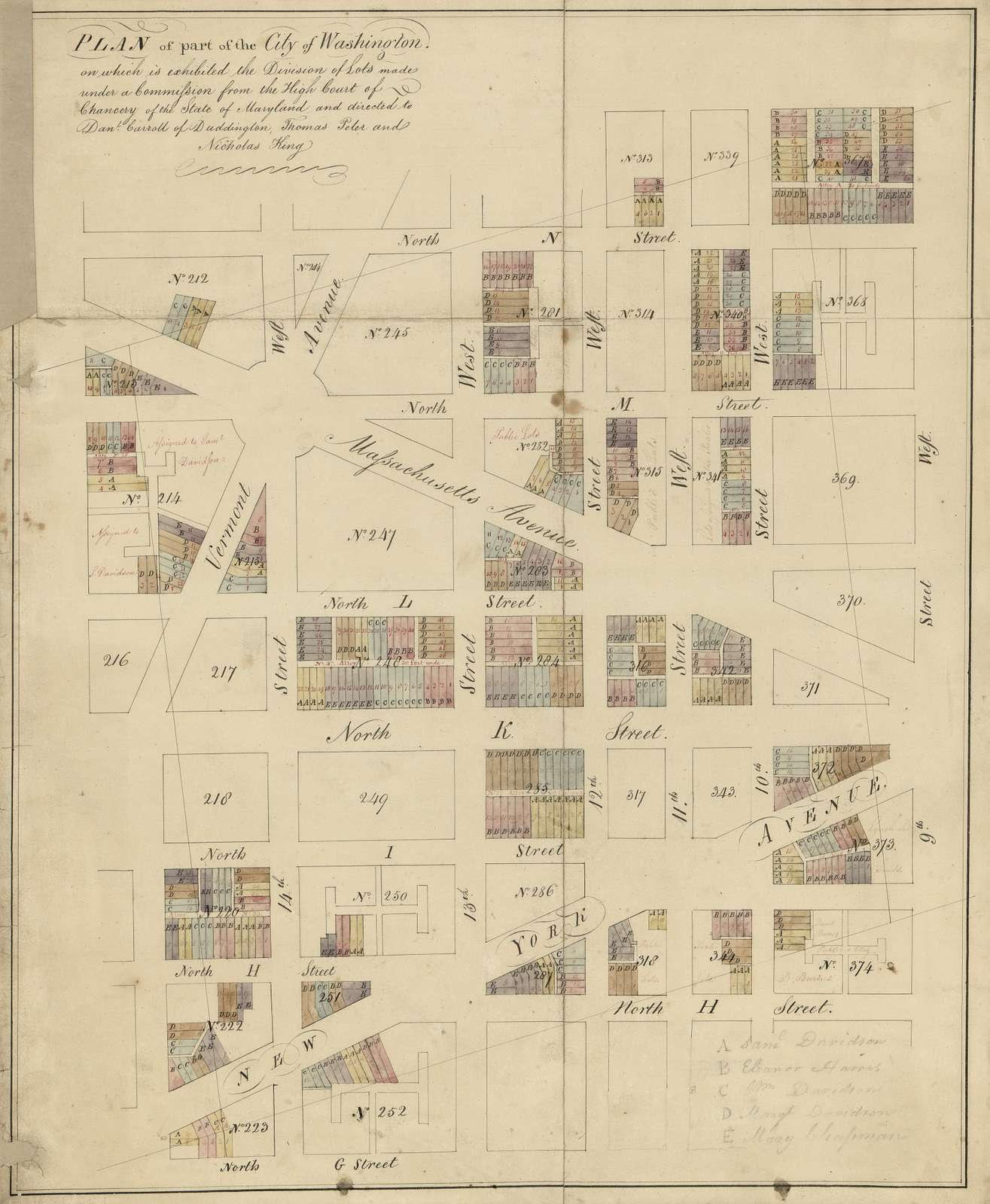 Plan of part of the city of Washington on which is exhibited the division of lots : made under a commission from the High Court of Chancery of the state of Maryland and directed to Dan'l Carroll of Duddington, Thomas Peter, and Nicholas King.