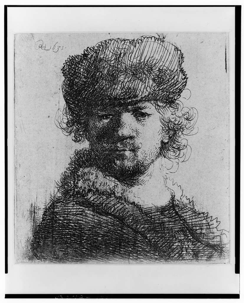 [Rembrandt in a heavy fur cap] / [monogram] 1631.