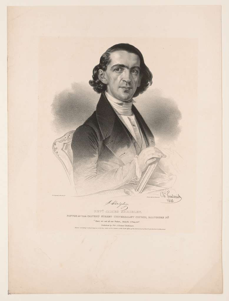 Revd. James Shrigley. Pastor of the Calvert Street Universalist Church, Baltimore Md.