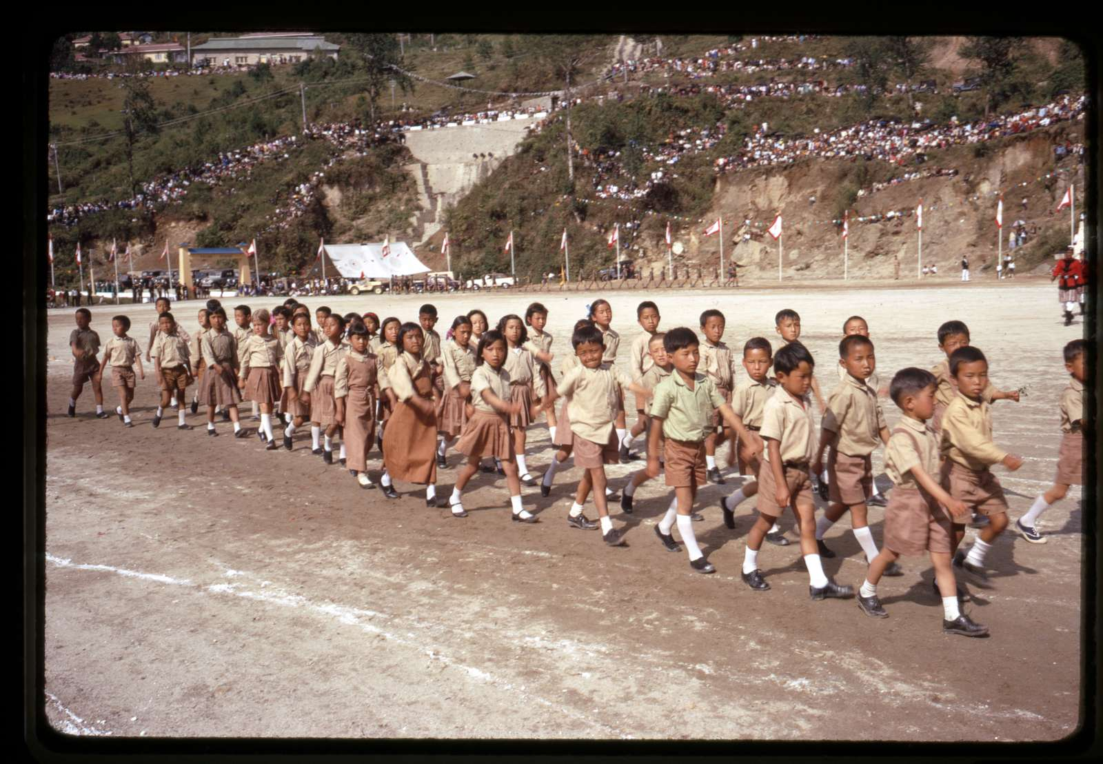 [School children lining up for the birthday parade in honor of Palden Thondup Namgyal, King of Sikkim, Gangtok, Sikkim]