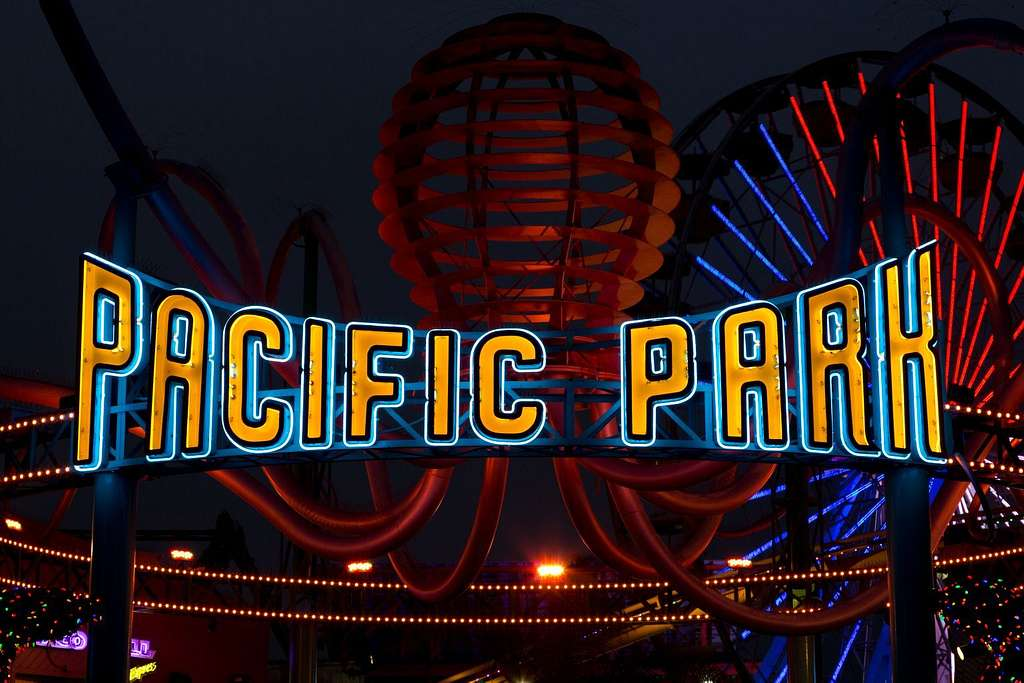 "Sign ""Pacific Park"" at the Santa Monica Pier in Santa Monica, California"