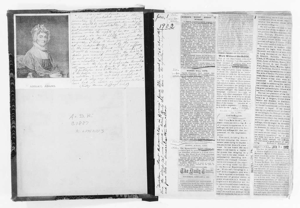 Susan B. Anthony Papers: Scrapbooks, 1876-1934; 1902-1903