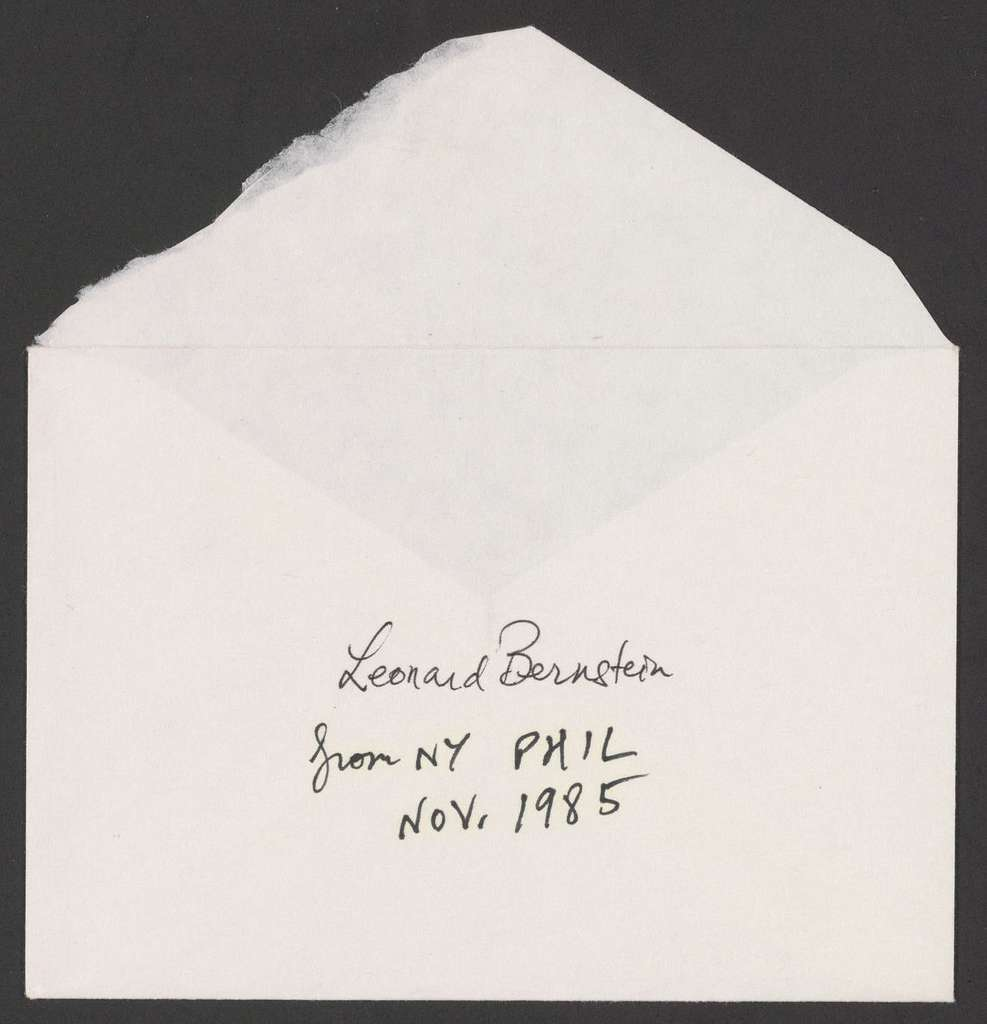 The Philharmonic-Symphony Society of New York to Leonard Bernstein, 1985