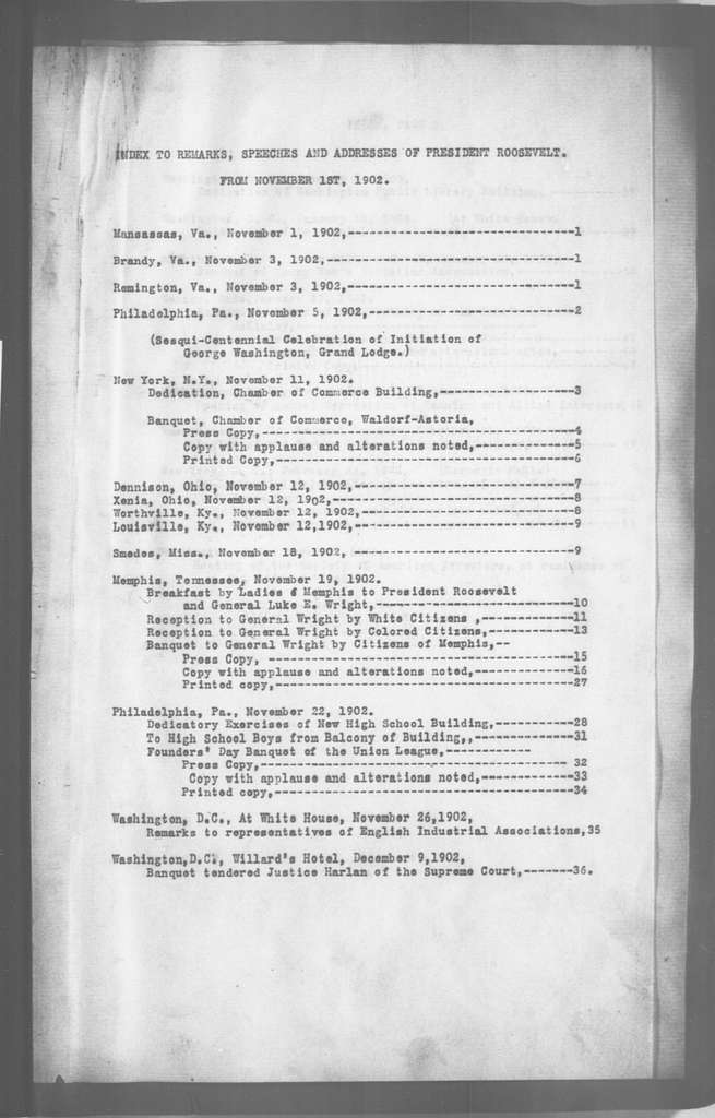 """Theodore Roosevelt Papers: Series 5: Speeches and Executive Orders, 1899-1918; Subseries 5B: """"White House Volumes,"""" 1901-1909; Vol. 5, 1902, Nov. 1-1903, Mar. 26"""