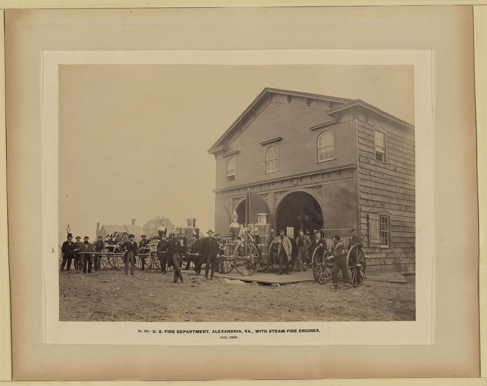 U.S. Fire Department, Alexandria, Va., with steam fire engines, July, 1863