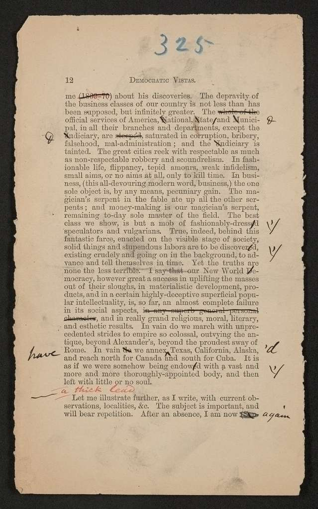 Walt Whitman Papers in the Charles E. Feinberg Collection: Literary File, 1841-1919; Books, 1855-1919; Specimen Days and Collect ( 1882-1883 ); Manuscript drafts; Original printer's copy; Pp. 313-396