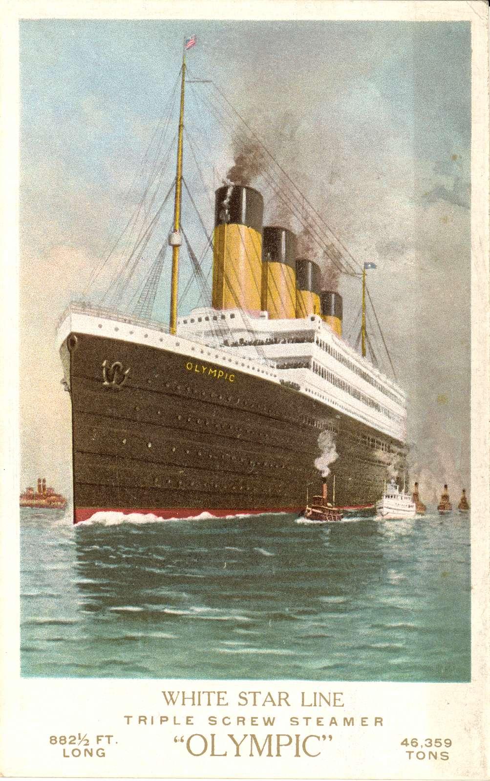 """White Star Line, triple screw steamer """"Olympic"""", 882 1/2 ft. long, 46,359 tons"""