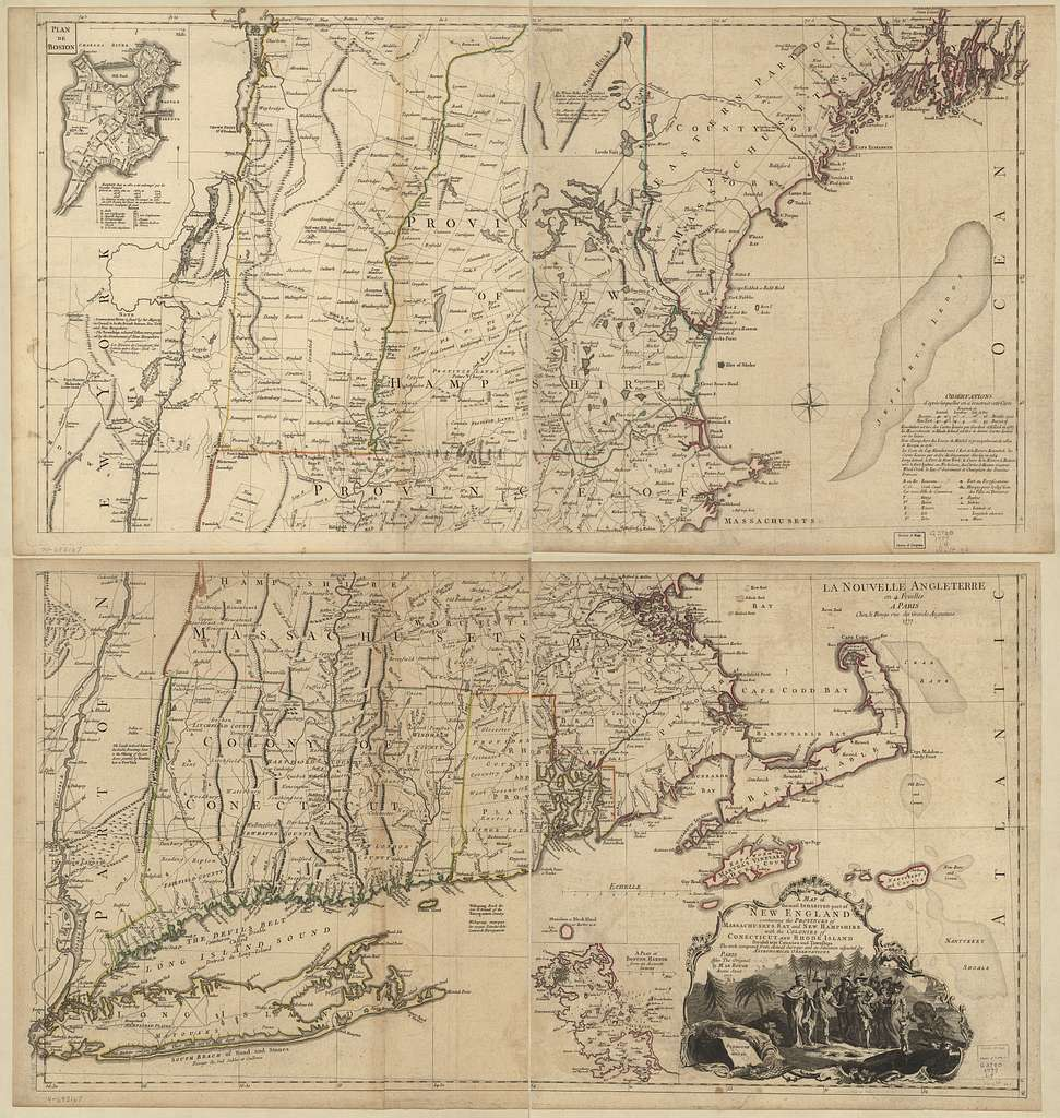 A map of the most inhabited part of New England, containing the provinces of Massachusets Bay and New Hampshire with the colonies of Conecticut and Rhode Island divided into counties and townships, the w[h]ole composed from actual surveys and its situation adjusted by astronomical observations. After the original by M. Le Rouge.