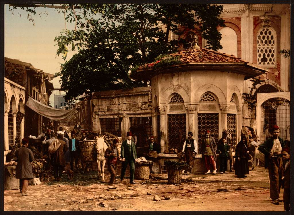 [A street at Stamboul with fountain, Constantinople, Turkey]
