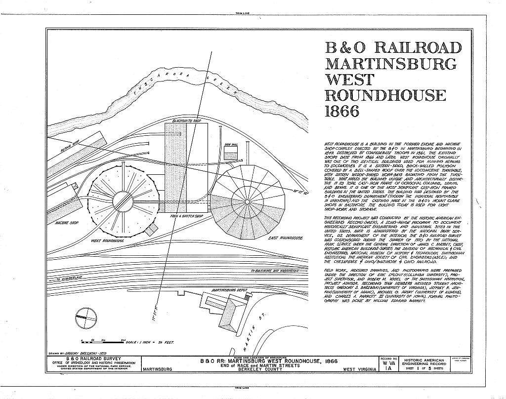 Baltimore & Ohio Railroad, Martinsburg West Roundhouse, East End of Race & Martin Streets, Martinsburg, Berkeley County, WV