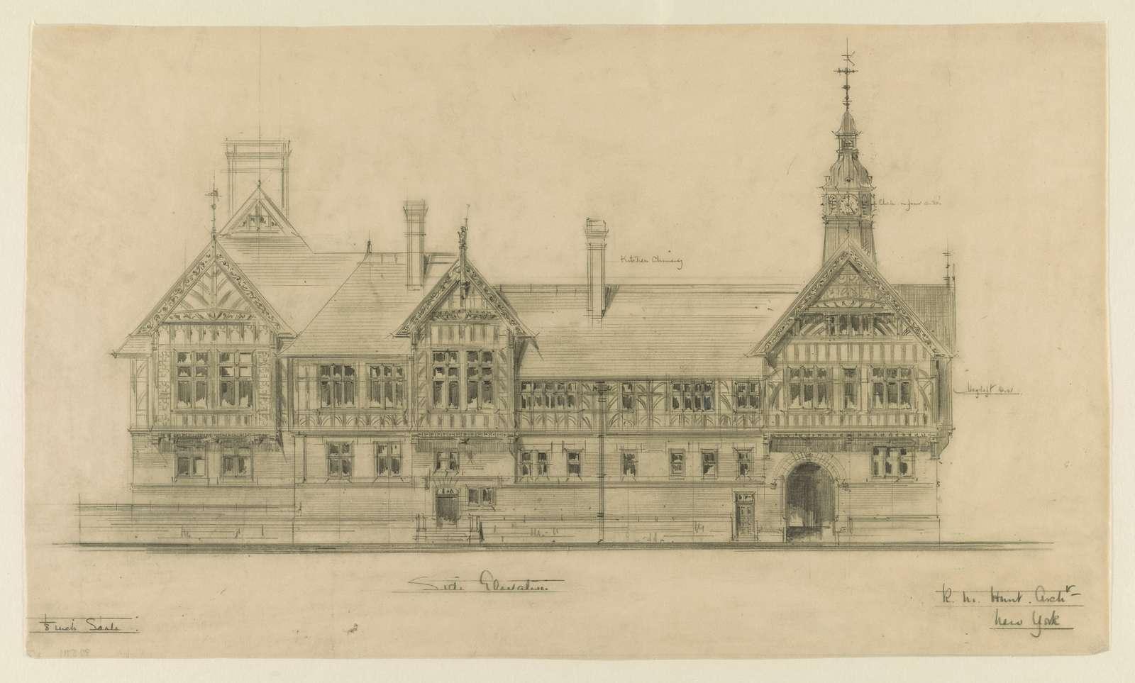 [Belcourt, summer estate for Oliver H.P. Belmont, Newport, R.I. Side elevation] / R.M. Hunt archt.