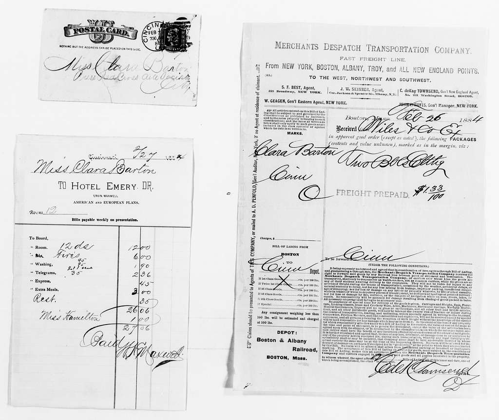 Clara Barton Papers: Red Cross File, 1863-1957; American National Red Cross, 1878-1957; Relief operations; Mississippi and Ohio river valleys; Accounts, receipts, and supplies; 1883, July-1884, Feb.