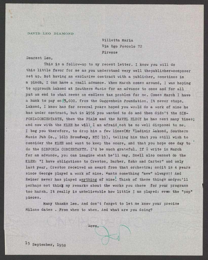 David Diamond to Leonard Bernstein, September 15, 1958