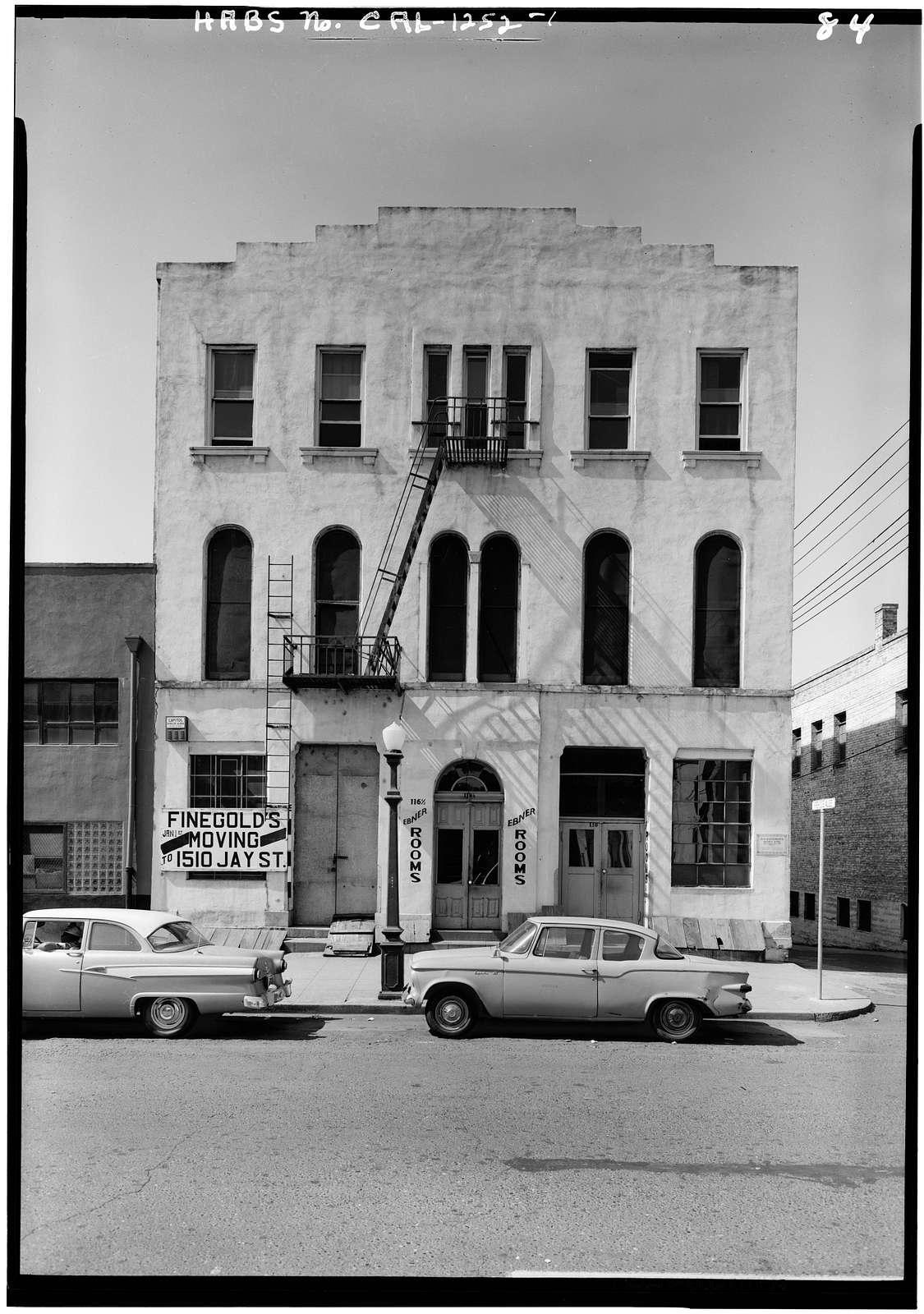 Ebner's Hotel, 116 K Street, Sacramento, Sacramento County, CA
