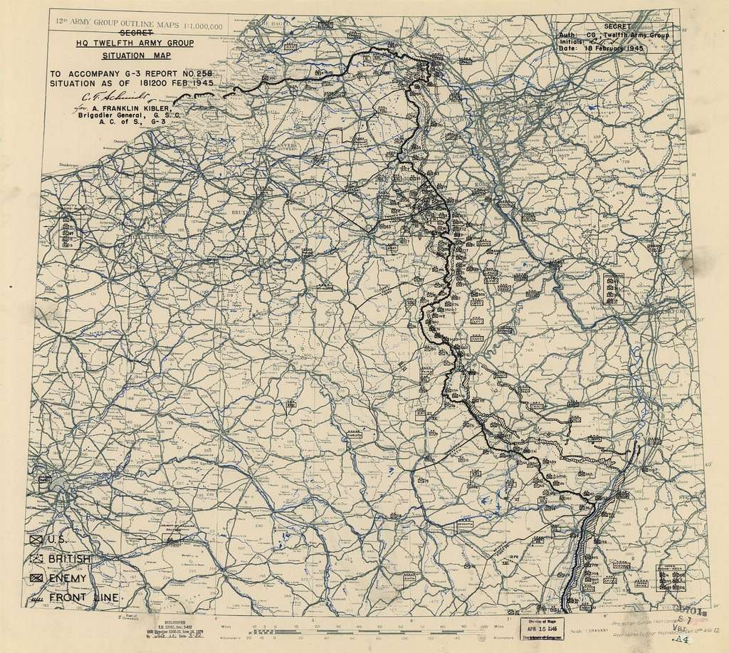 [February 18, 1945], HQ Twelfth Army Group situation map.