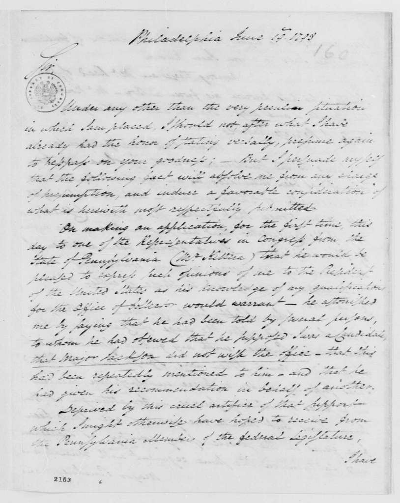 George Washington Papers, Series 7, Applications for Office, 1789-1796: William Jackson