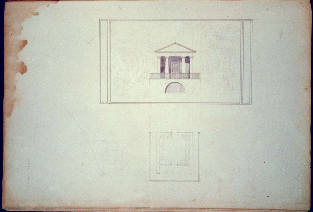 "[Houses and a church (""Buildings Erected or Proposed to be Built in Virginia""). Spring house - elevation and plan]"