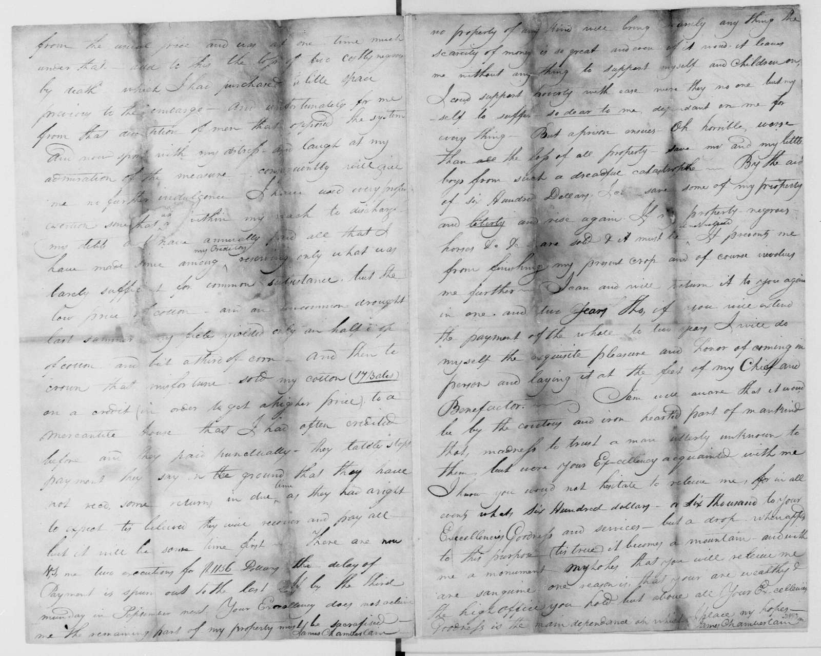 James Chamberlain to James Madison, July 4, 1811. Partly Illegible.