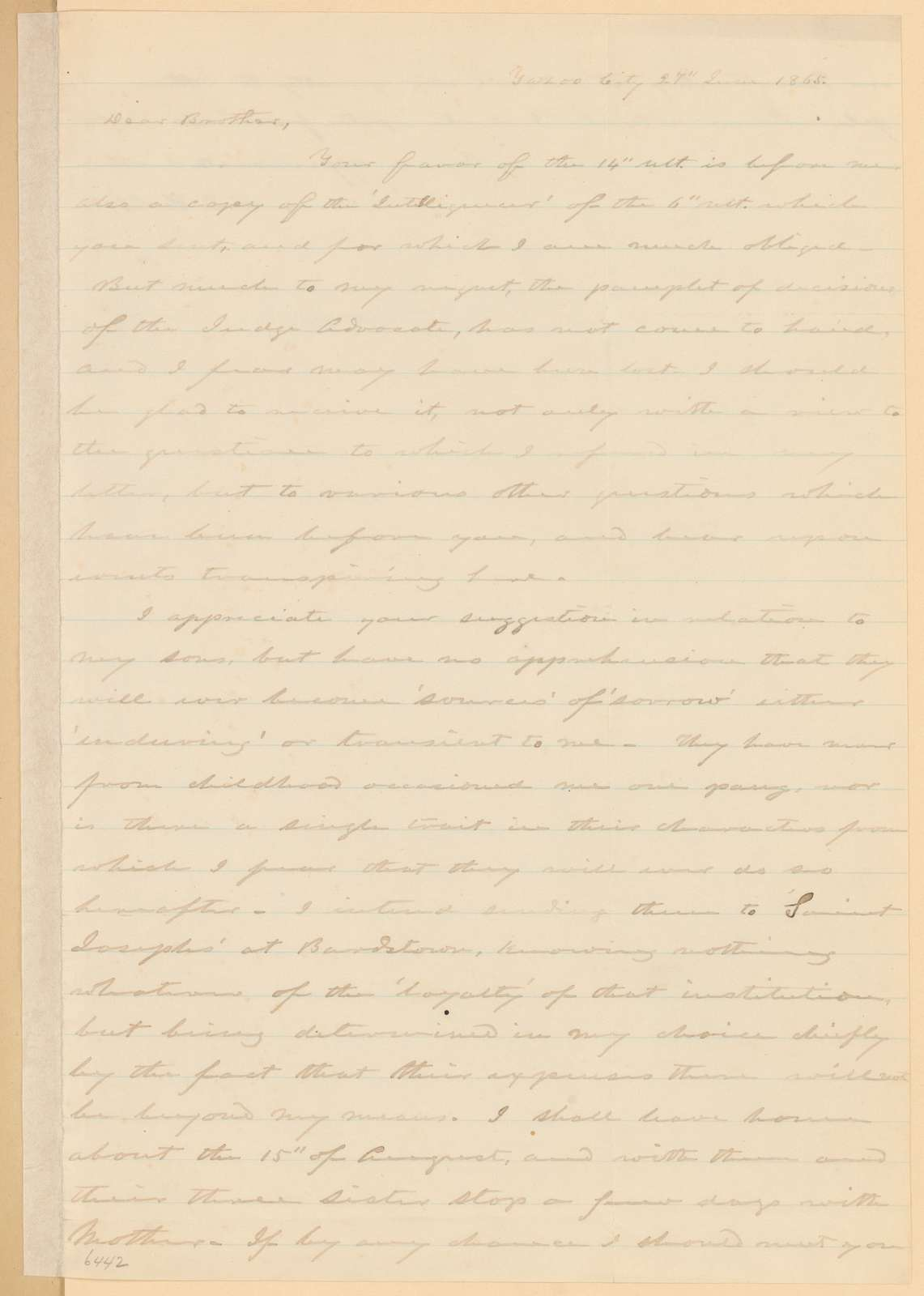 Joseph Holt Papers: General Correspondence and Related Material, 1817-1894; 1865, May 23-July 8