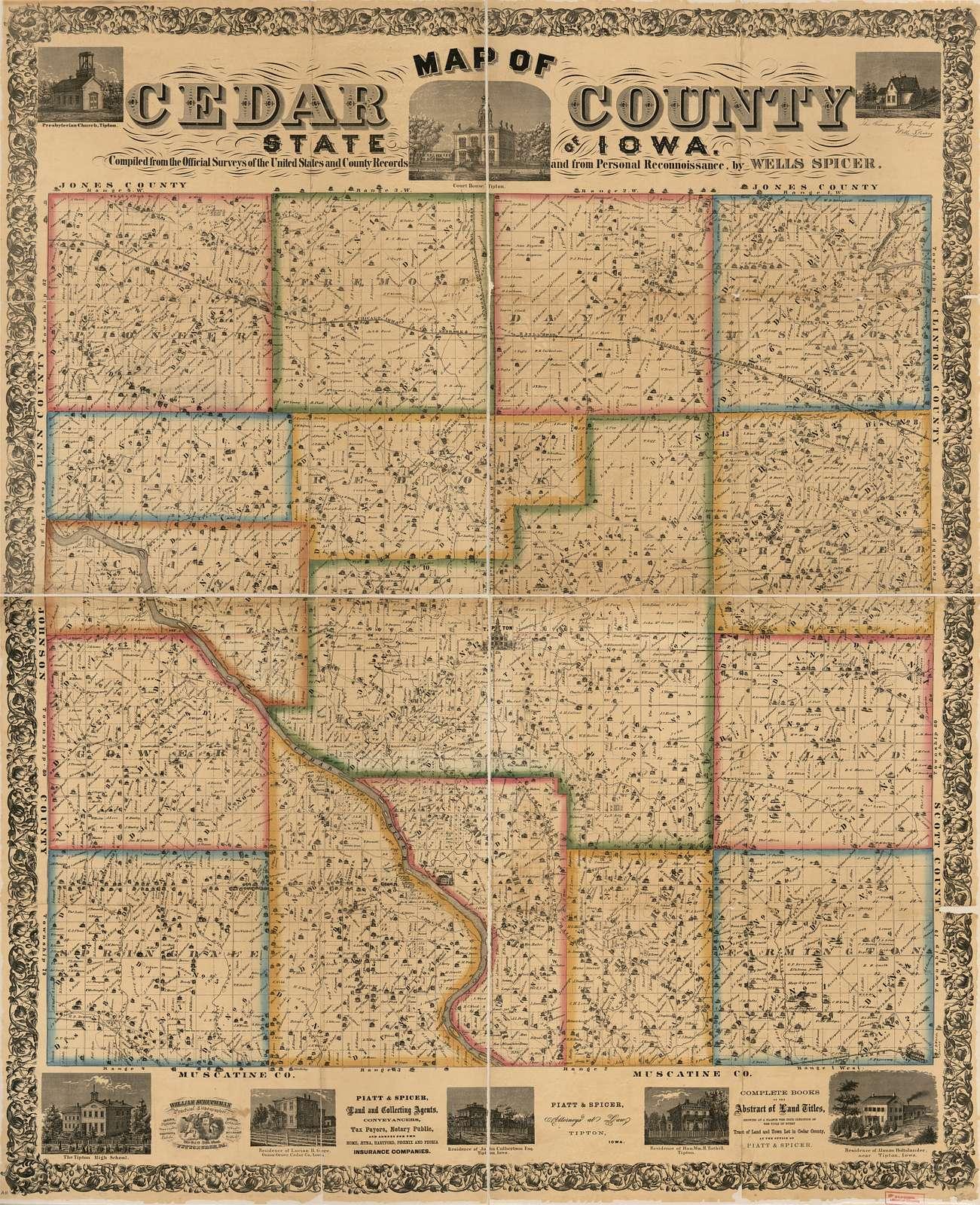 Map of Cedar County, State of Iowa /