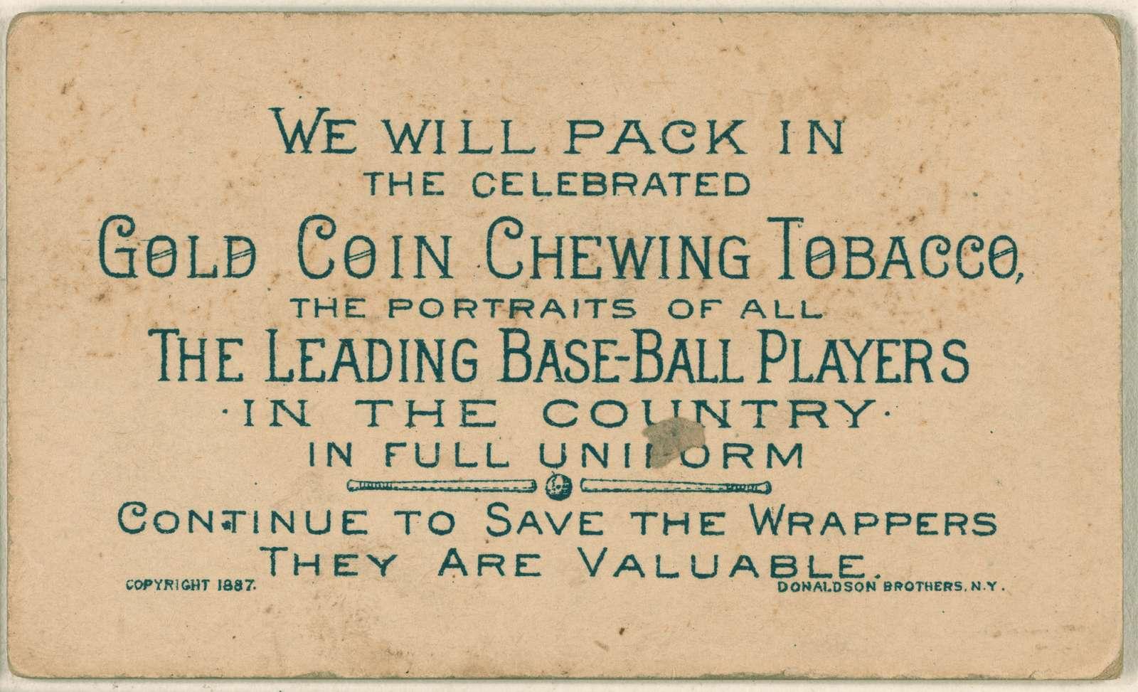 [Ned Williamson, Chicago White Stockings, baseball card portrait]