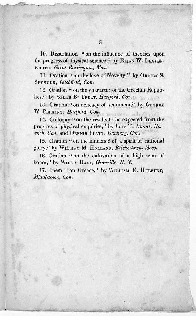 Order of exercises at the exhibition of the Junior Class, May 5, 1823. New-Haven: Printed at the Journal Office 1823.