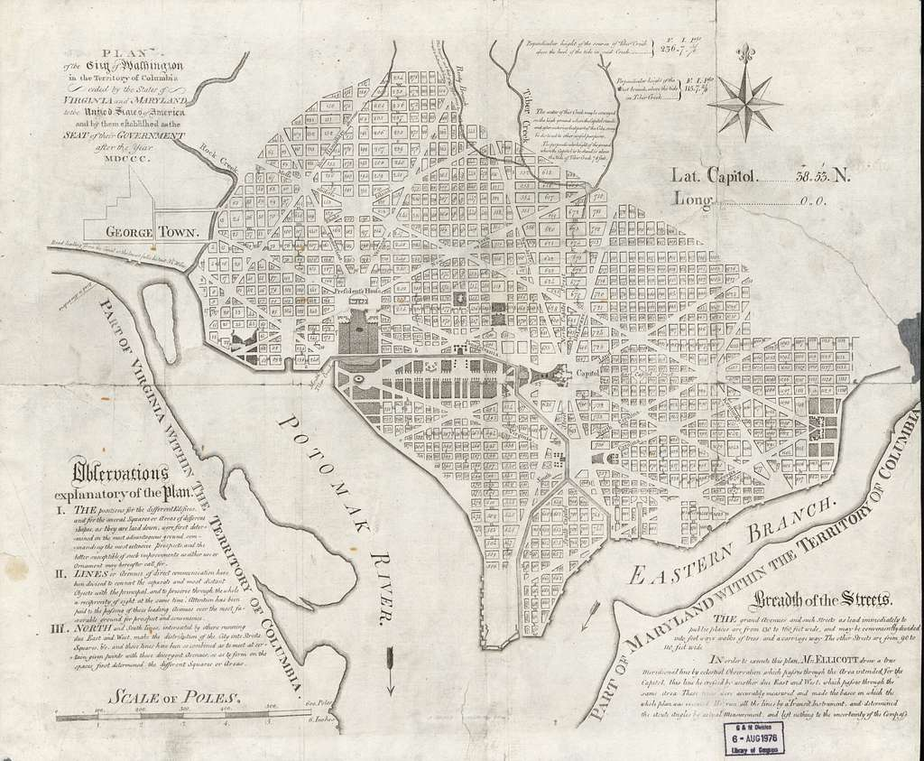 Plan of the city of Washington in the territory of Columbia, ceded by the States of Virginia and Maryland to the United States of America, and by them established as the seat of government after the year MDCCC.
