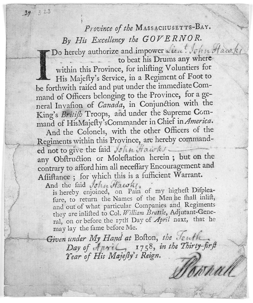 Province of the Massachusetts-Bay. By His Excellency the Governor. I do hereby authorize and impower [blank] to beat his drums any where within this Province, for inlisting voluntiers for His Majesty's service, in a regiment of foot … Given unde