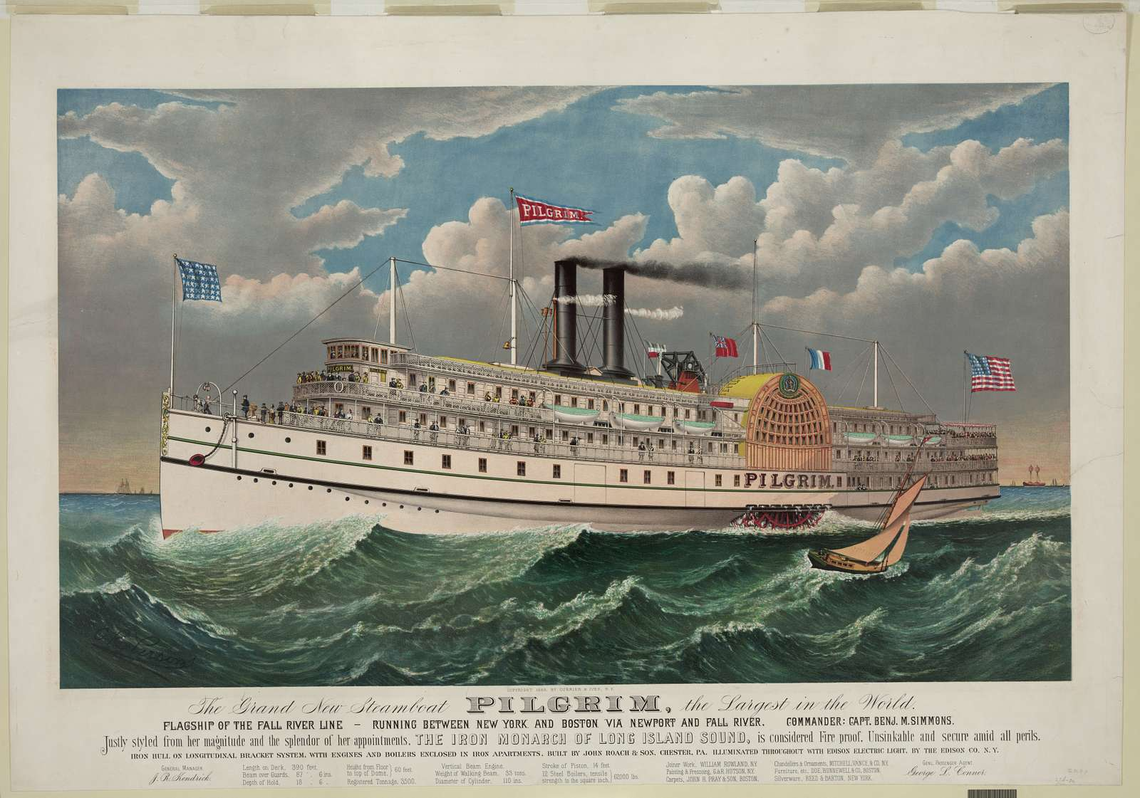The grand new steamboat Pilgrim: the largest in the world: flagship of the Fall River line - running between New York and Boston via New port and Fall River - commander: Capt. Benj. M. Simmons / C.R. Parsons.