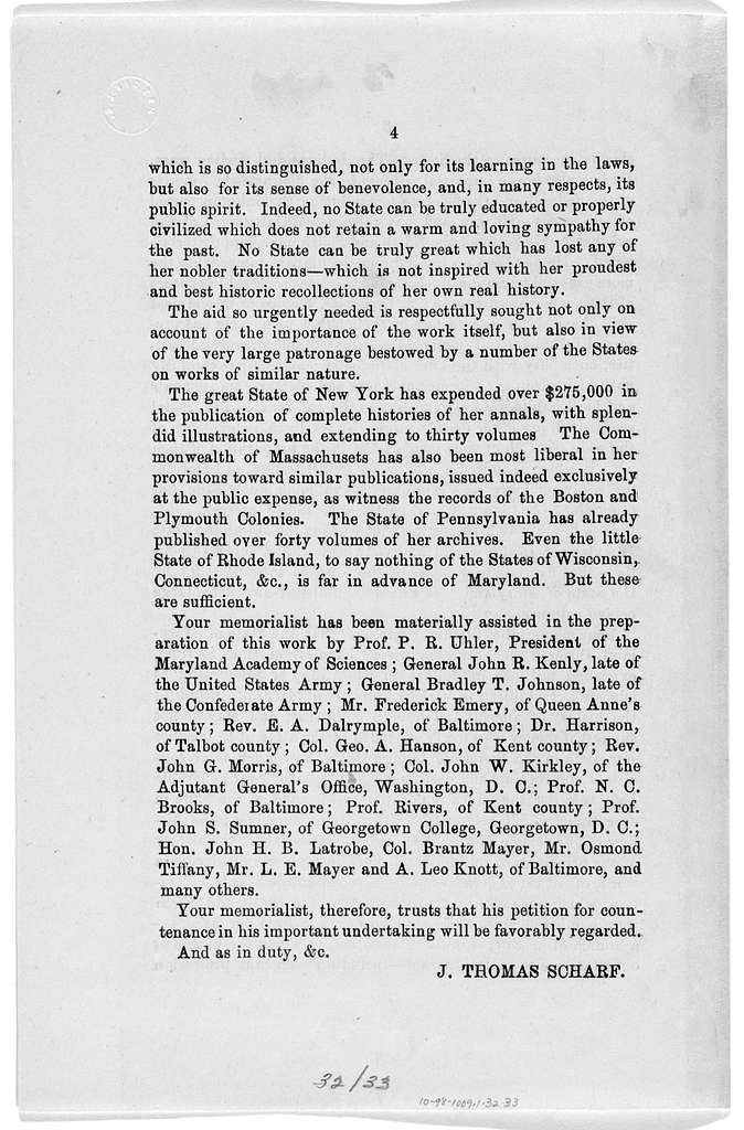 To the Honorable the General Assembly of Maryland: The memorial of J. Thomas Scharf, of the city of Baltimore, respectfully represents ... [n. d.].