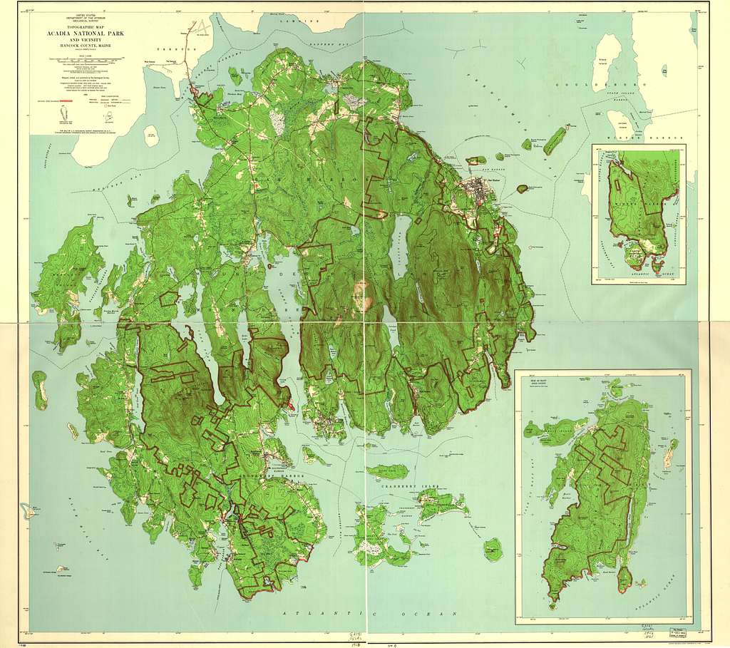 Topographic map, Acadia National Park and vicinity, Han ... on map of white sands national monument, map of white mountain national forest, map of arctic national wildlife refuge, map of cape lookout national seashore, map of chickasaw national recreation area, map of bar harbor, map of cedar breaks national monument, map of deer isle, map of mount rogers national recreation area, map of el yunque national forest, map of oregon dunes national recreation area, map of cumberland island national seashore, map of southwest harbor, map of great sand dunes national park and preserve, map of independence national historical park, map of gulf islands national seashore, map of rockefeller university, map of sonoran desert national monument, map of indiana dunes national lakeshore, map of denali national park and preserve,