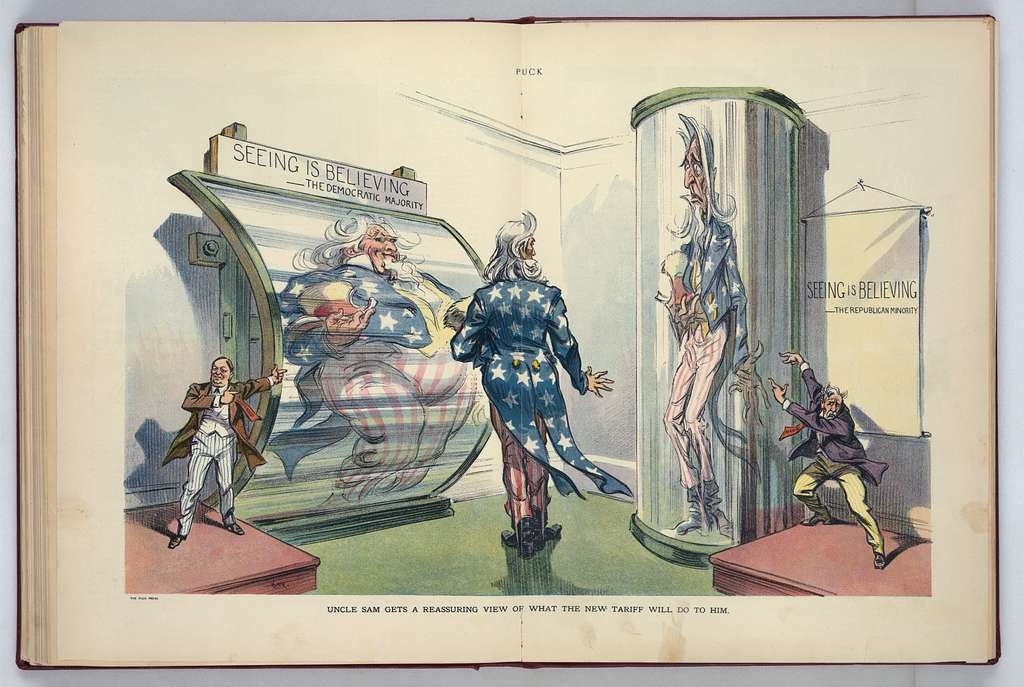 Uncle Sam gets a reassuring view of what the new tariff will do to him / Kep.