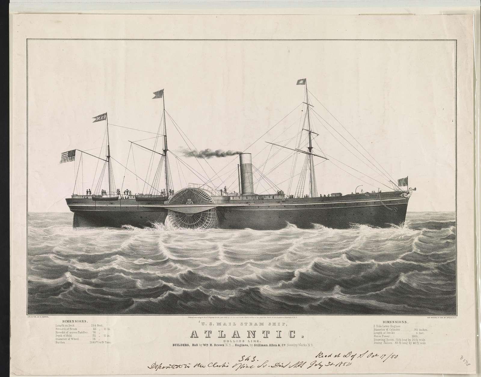 U.S. mail steam ship, Atlantic: Collins line. builders, hull by Wm. H. Brown N.Y.--engines, by Stillman Allen & Co. Novelty Works N.Y.