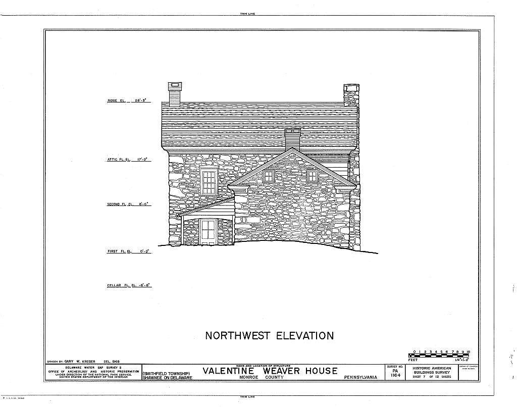 Valentine Weaver House, River Road (Smithfield Township), Shawnee on Delaware, Monroe County, PA
