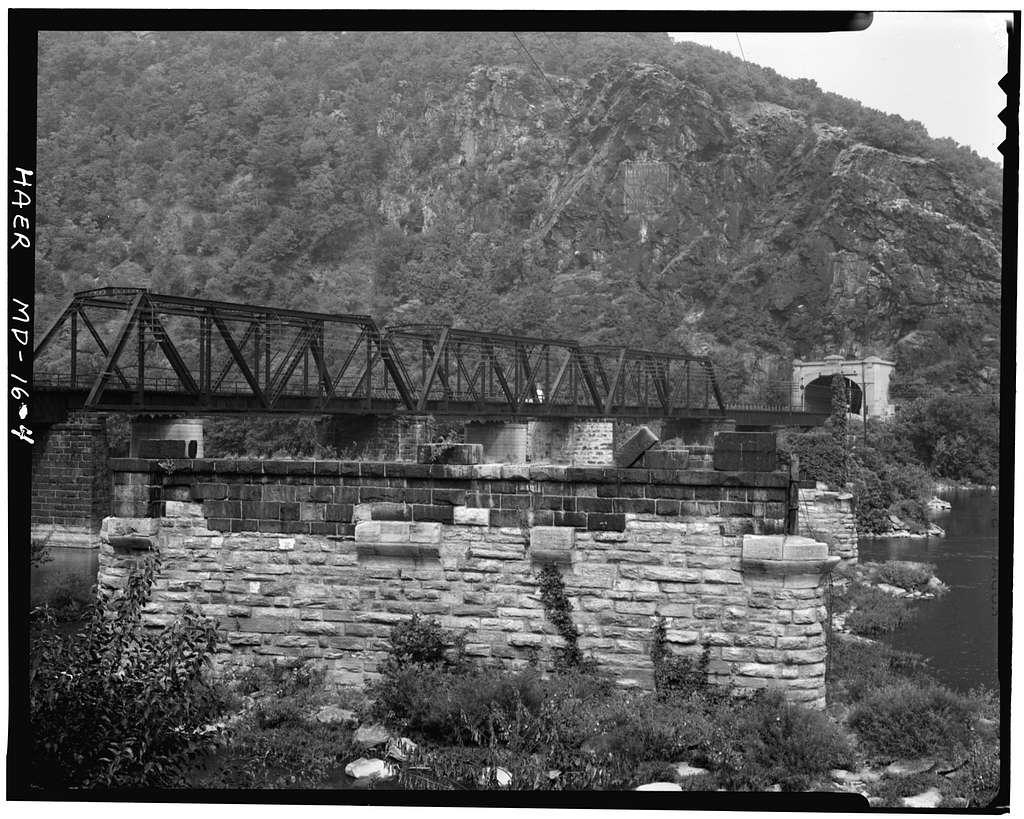 Baltimore & Ohio Railroad, Harpers Ferry Bridge Piers, Junction of Potomac & Shenandoah Rivers, Sharpsburg, Washington County, MD