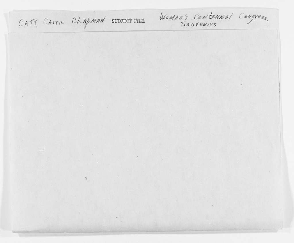 Carrie Chapman Catt Papers: Subject File, 1848-1950; Woman's Centennial Congress; Souvenirs