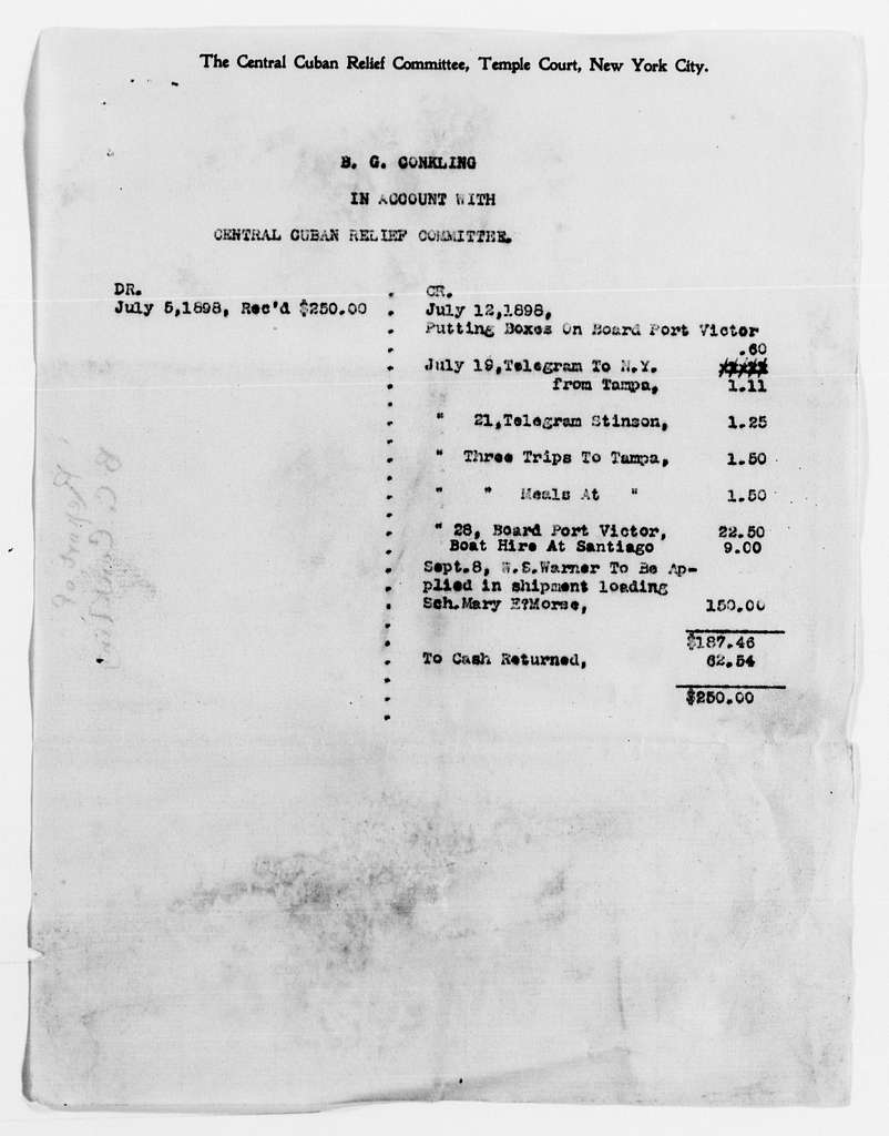 Clara Barton Papers: Red Cross File, 1863-1957; American National Red Cross, 1878-1957; Relief operations; Spanish-American War; Accounts and supplies; Statement of accounts, 1898-1899