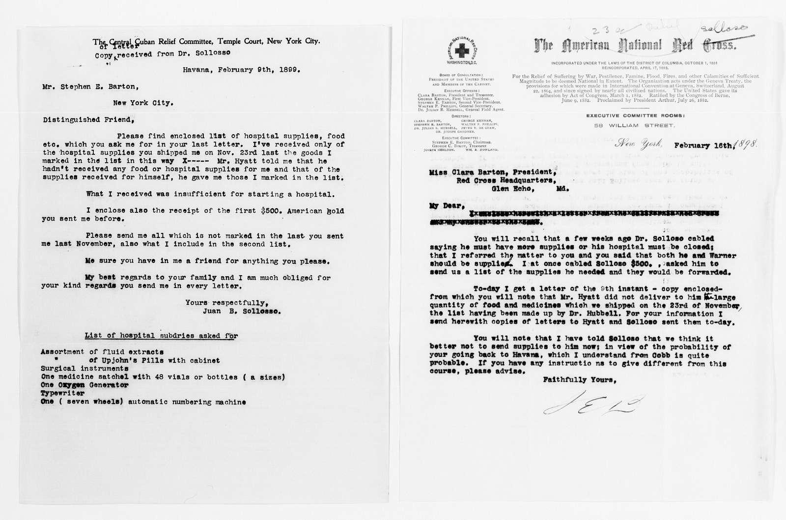 Clara Barton Papers: Red Cross File, 1863-1957; American National Red Cross, 1878-1957; Relief operations; Spanish-American War; Sollosso, Juan B., 1898-1899