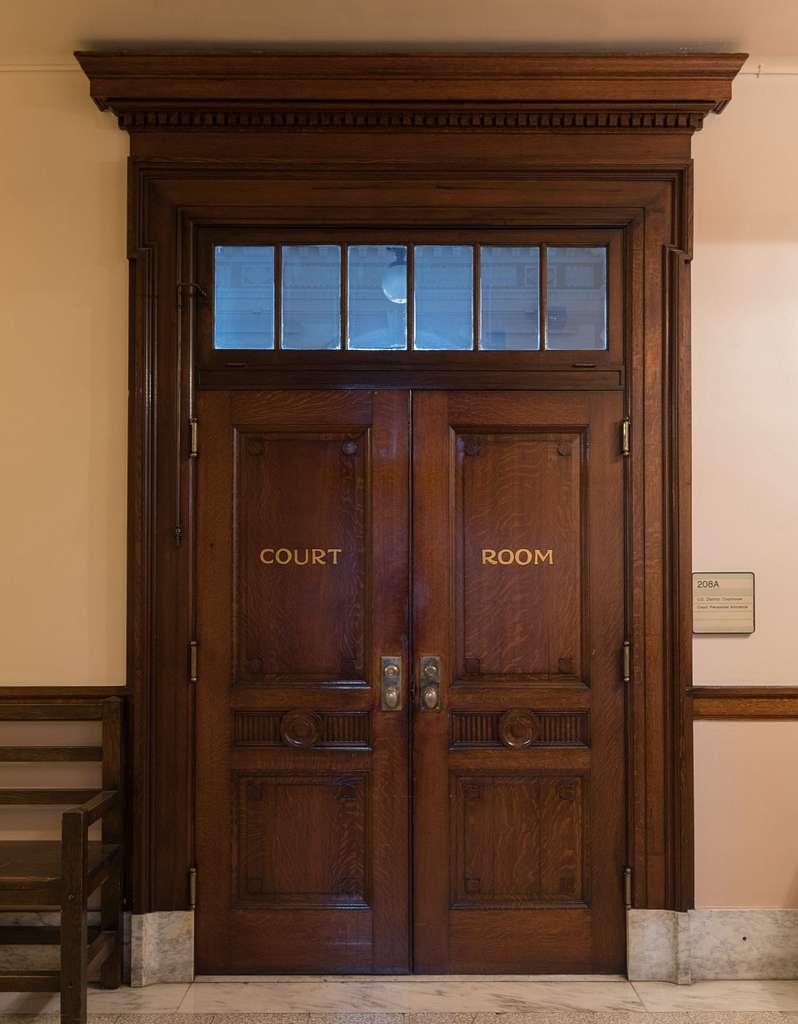 Courtroom doors, C. Bascom Slemp Federal Building, Big Stone Gap, Virginia