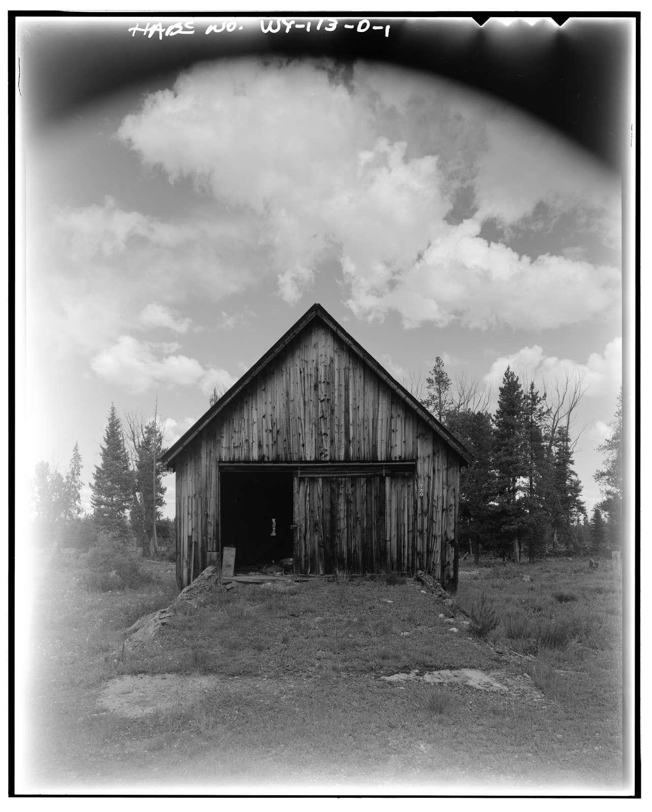 Geraldine Lucas Homestead, Garage, West bank Cottonwood Creek, 2.5 miles downstream from Jenny Lake, Moose, Teton County, WY