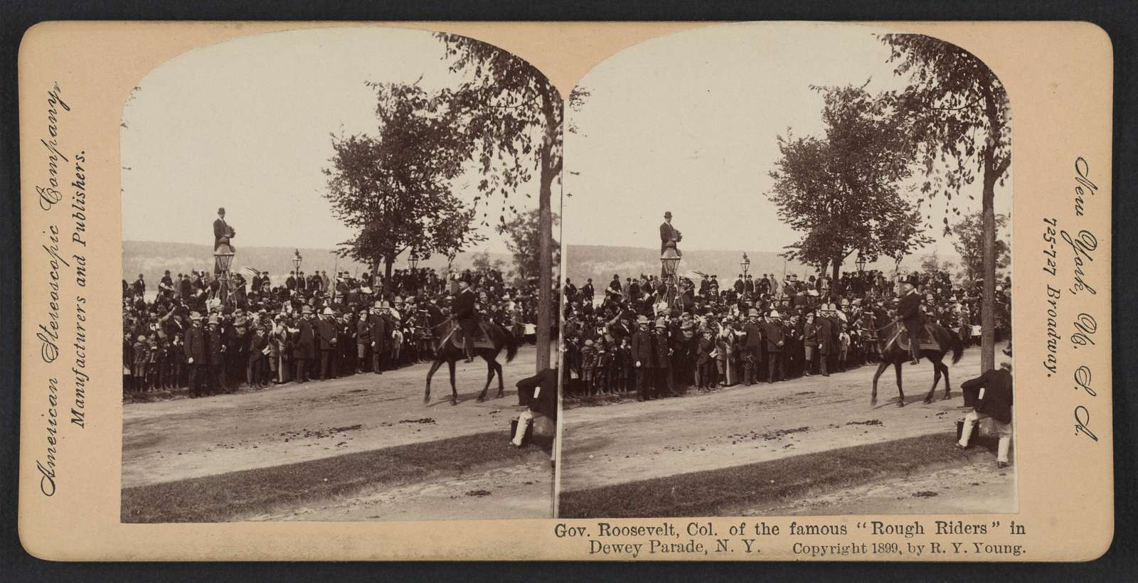 """Gov. Roosevelt, Col. of the famous """"Rough Riders"""" in Dewey Parade, N.Y."""