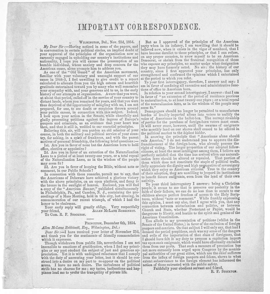 Important correspondence. [Letter from Allen McLane Robbinett to Com. R. F. Stockton Nov 23, 1854 and R. F. Stockton's reply dated Dec. 6th, 1854].