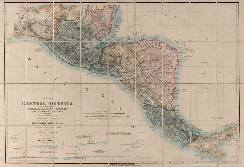 Map of Central America including the states of Guatemala, Salvador, Honduras, Nicaragua & Costa Rica, the territories of Belise & Mosquito, with parts of Mexico, Yucatan & New Granada : shewing the proposed routes between the Atlantic & Pacific Oceans by way of Tehuantepeque, Nicaragua & Panama /