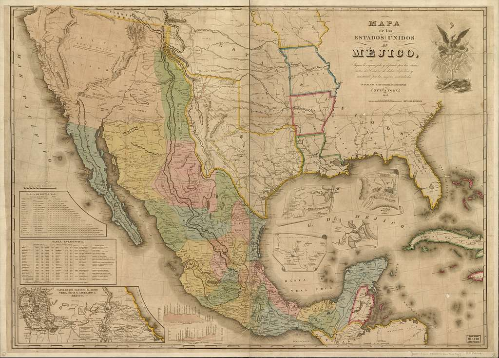 Mapa de los Estados Unidos de Méjico : segun lo organizado y definido por las varias actas del congreso de dicha républica y construido por las mejores autoridades.