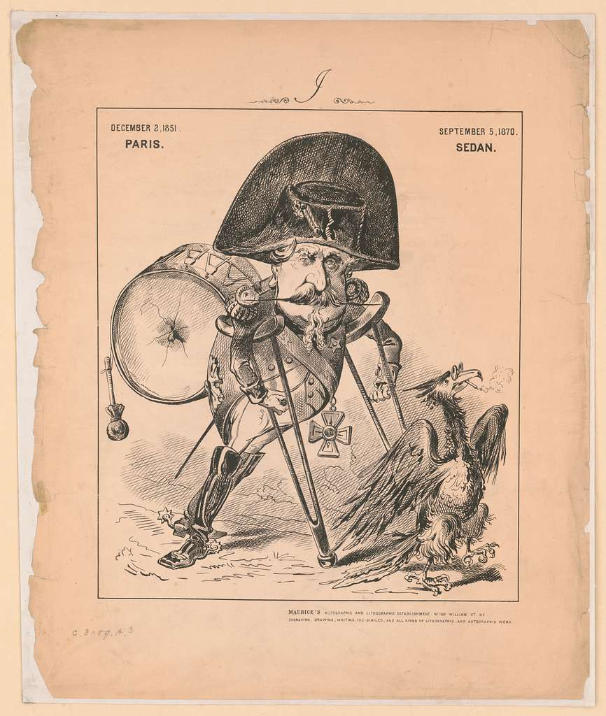 [Napoleon III, full-length portrait, facing front, walking on crutches, carrying a broken drum on his back, following the Gallic Cock who is leading the way, wearing glasses and smoking a cigarette] / Maurice's Autographic and Lithographic Establishment, No. 160 William St. N.Y.